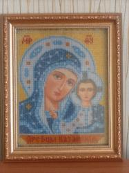 Икона Пресвятой Богородицы Казанской, вышитая бисером и оформленная в багет.  Освящена в церкви!