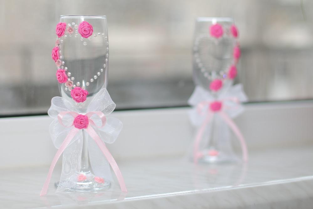 Свадебные фужеры своими руками с атласными лентами