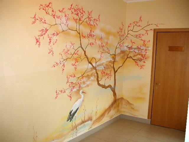 Сакура на стенах своими руками