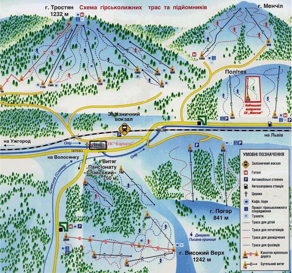 Схема трасс курорта «Славское». Фото: ski.spb.ru