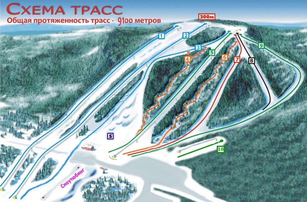 Схема трасс курорта «Такман». Фото: takman-ski.ru