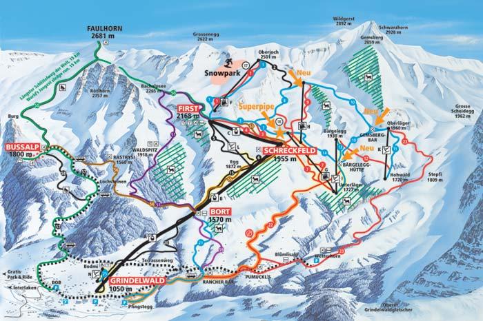 Схема трасс курорта. Источник: grindelwald.ch