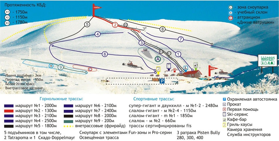 Схема южного склона. Источник: kirovsk-hibinogorsk.ru