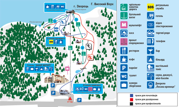 Схема трасс г. Высокий Верх. Фото: www.zaharberkut.net