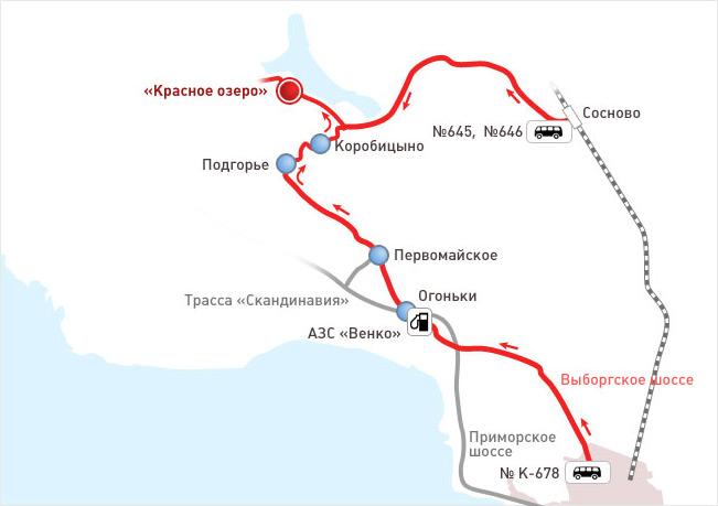 Схема проезда. Фото: www.krasnoeozero.ru
