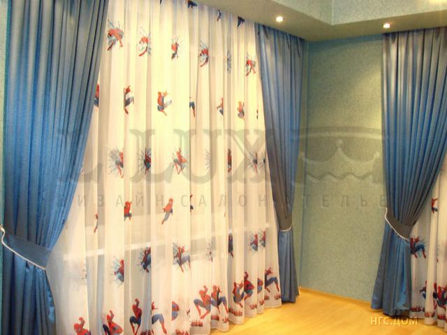 """Фото 5. Портьеры и тюль  """"Человек - паук """" в детскую для мальчика."""