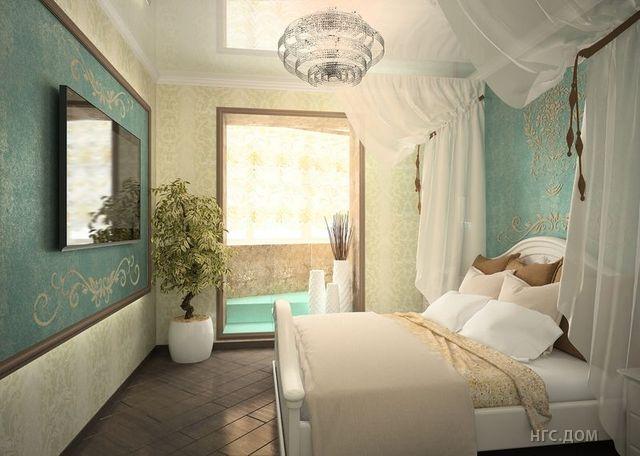 Спальня в бирюзовом цвете фото