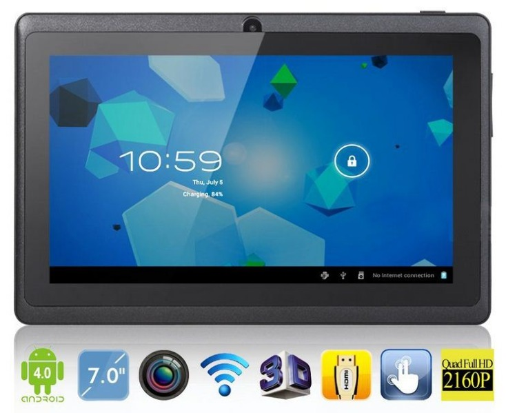 Планшет имеет 7,0 дюймовый сенсорный экран, операционную систему google android,поддерживает беспроводную сеть wifi