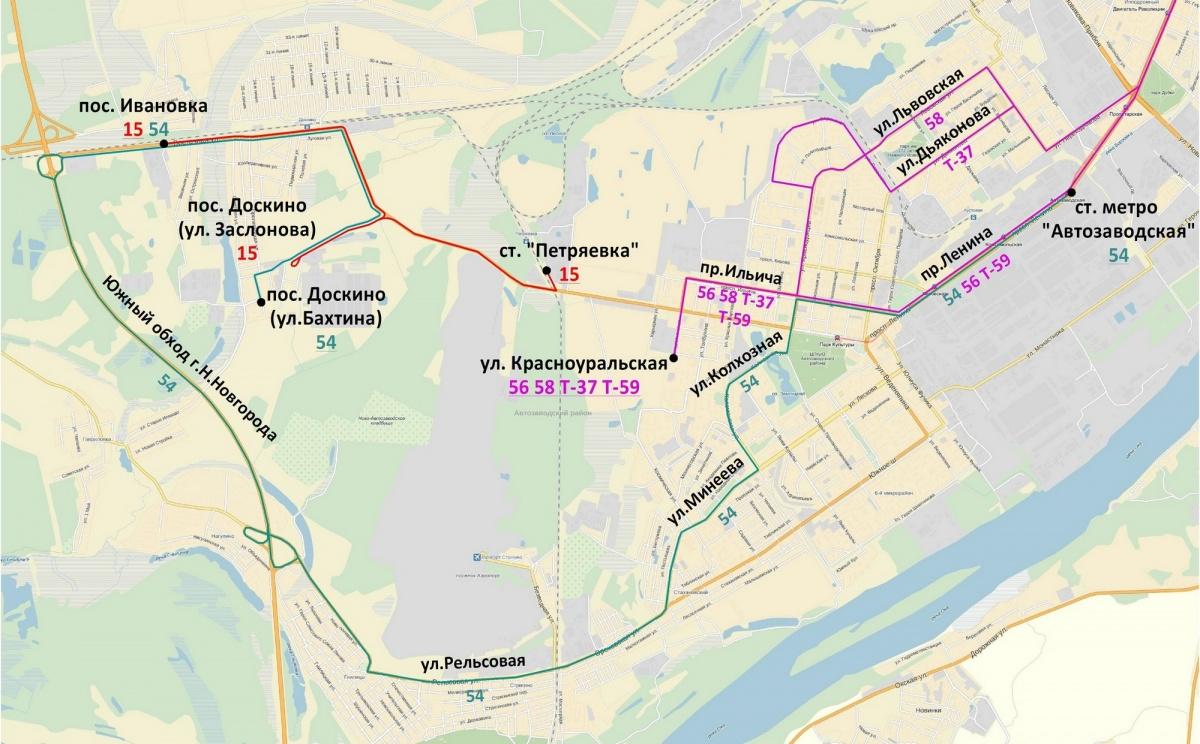 Схема движения 307 автобуса