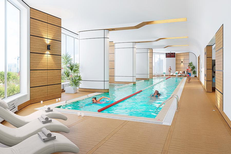 Спортивный центр спроектирован с двумя бассейнами: длиной 25м, оснащенный двумя дорожками, — для взрослых и поменьше — для самых маленьких спортсменов.
