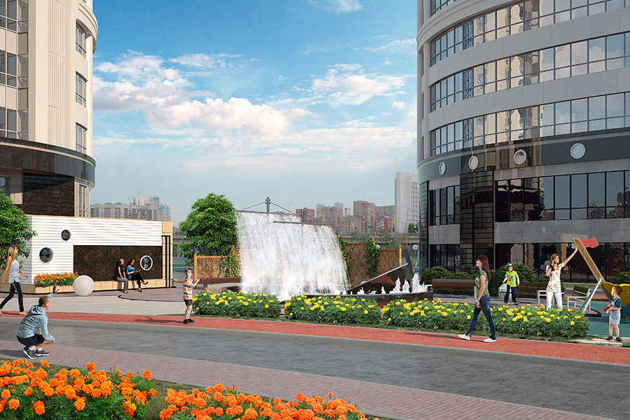 Композиционной изюминкой парковой зоны «Флотилии» будет фонтан, исполненный в совершенно новом для нашего города инженерном решении — гидропластике.