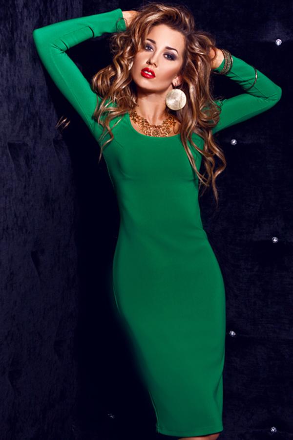 зеленое платье трикотаж фото