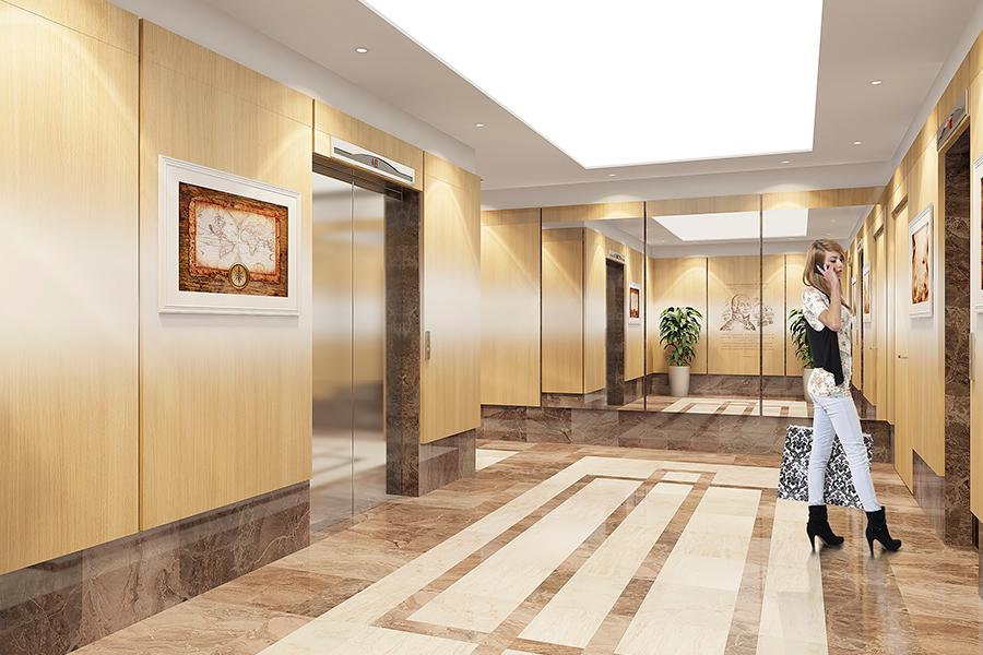 Фирменный стиль «Флотилии» читается в каждой мелочи оформления и поэтажных холлов. Дома оборудуют высокоскоростными бесшумными лифтами.