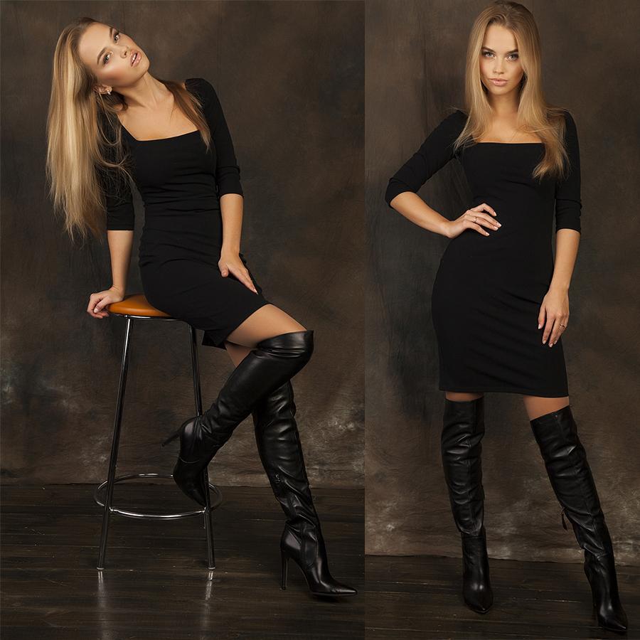 высокие сапоги и платья на фото