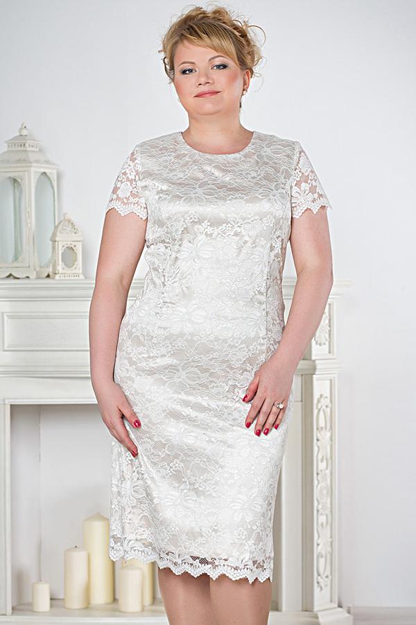 Платья из белого кружева для полных