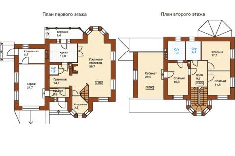 План коттеджа площадью 205,3 кв. м