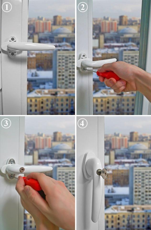 Как заменить ручку на пластиковом окне на ручку с замком видео