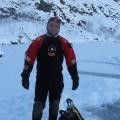 Температура воздуха опустилась до 20 градусов мороза, когда дайверы погрузились в карьер