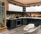 Кухня Люкс Страйп белый-черный (погонный метр)