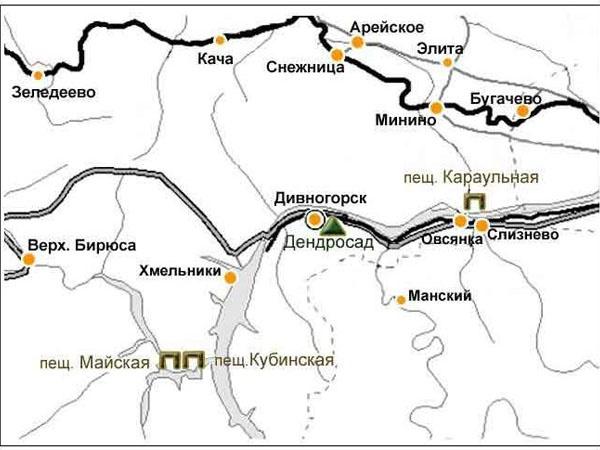 Карта. Пещеры Караульная, Майская, Кубинская.   www.doopt.ru
