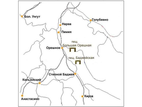 Карта. Пещеры Большая Орешная, Баджейская. Фото: www.doopt.ru