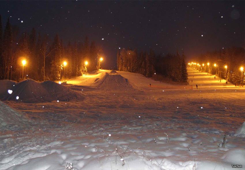 Вечерние трассы «Такмана». Фото: takman-ski.ru