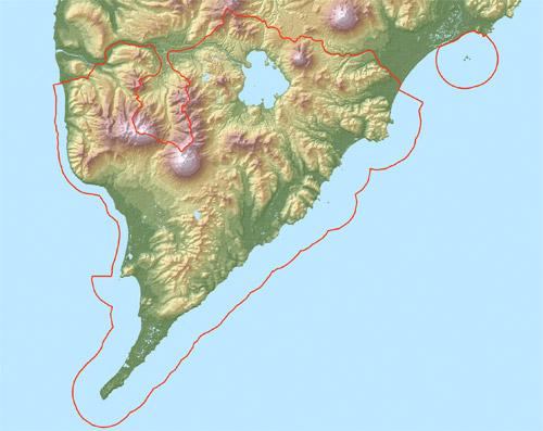 Южно-Камчатский заказника на карте, www.kronoki.ru