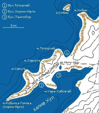 Карта полуострова Кобылья Голова   www.magicbaikal.ru