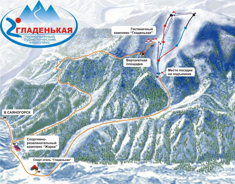 Схема курорта «Гладенькая». Фото: ski-gladenkaya.ru