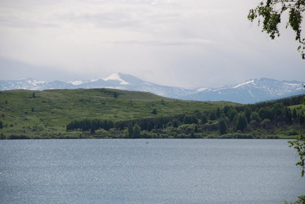 озеро Белое, вид с берега от дома.  Озеро тектонического происхождения, залегающее в широкой котловине Колыванского хребта в Курьинском районе Алтайского края на высоте 539 м над уровнем моря. Имеет статус памятника природы.