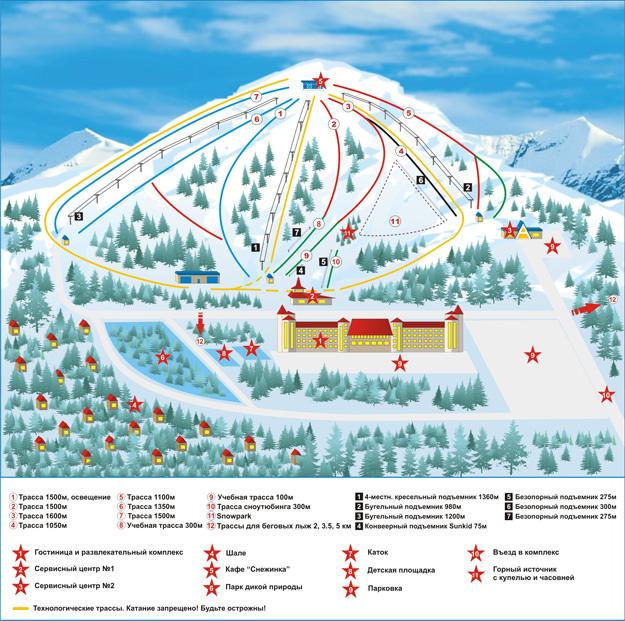 Танай. Схема трасс. Фото: www.tanay.hcsds.ru