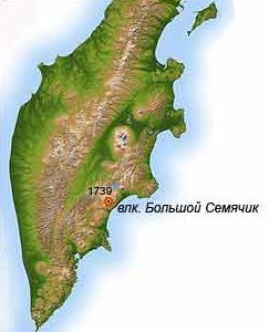 Месторасположение влканического массива Большой Семячик   www.kamchatsky-krai.ru