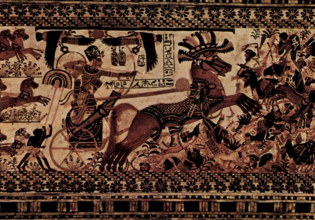 Тутанхамон на колеснице. Изображение из гробницы в Долине Царей. Автор: Agyptischer Maler um 1355 v.Chr. Фото:  commons.wikimedia.org
