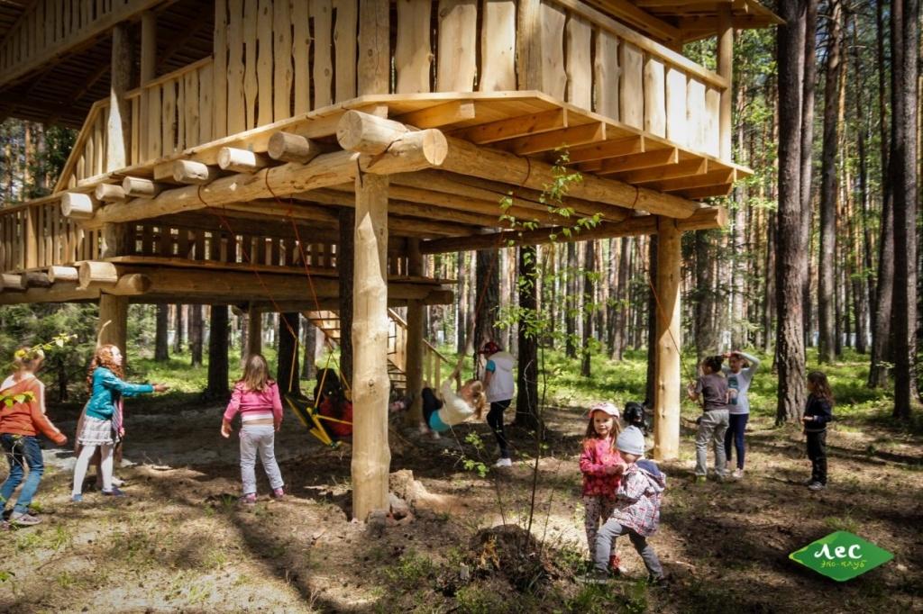 Детский домик-городок: две крытых террасы, песочница, качели, тарзанки - под крышей
