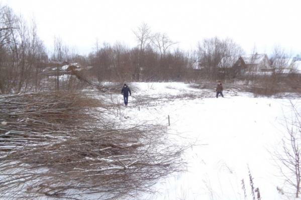 Прихожане своими силами расчищают участок от кустарника