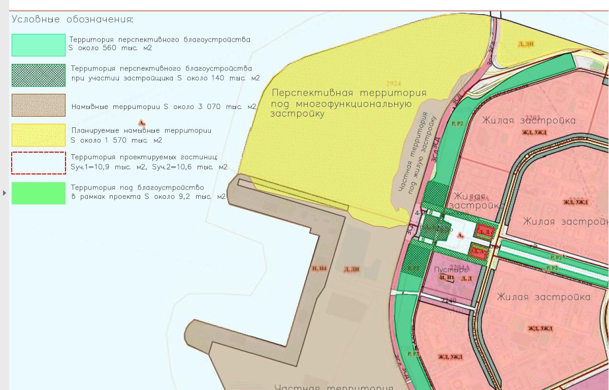 Схема функционального зонирования территорий в устье Смоленки по состоянию на 17 октября 2018