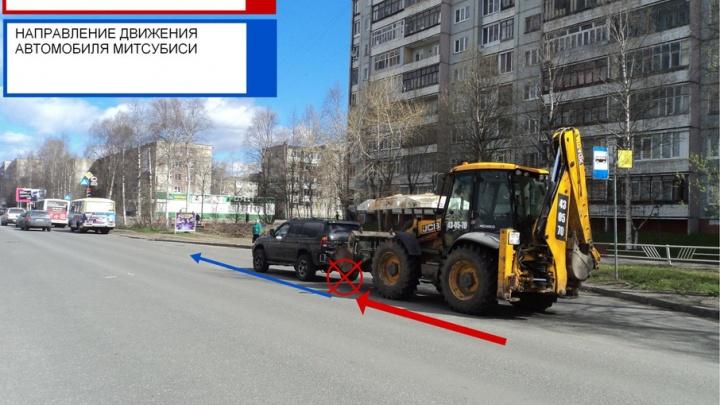 В Архангельске трактор врезался в «Мицубиси»