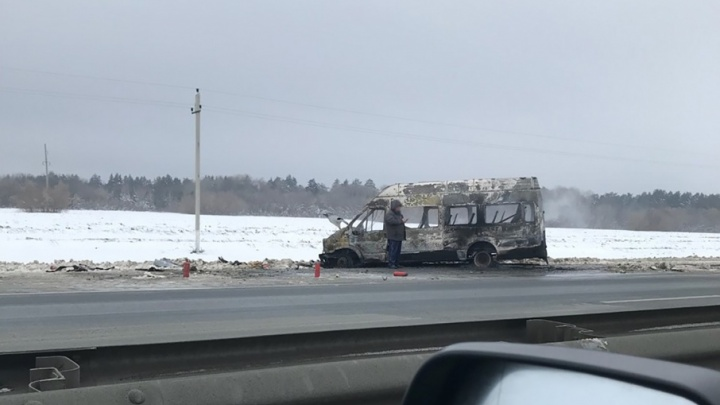 «Остался только «скелет»»: на М-5 под Самарой выгорел микроавтобус «Форд»