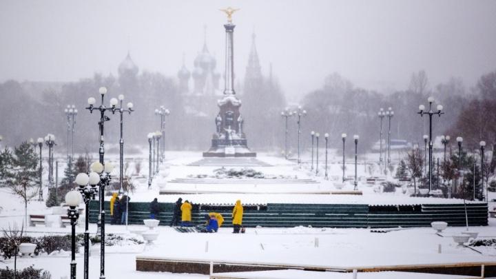 Поющие фонтаны на Стрелке заколотили на зиму