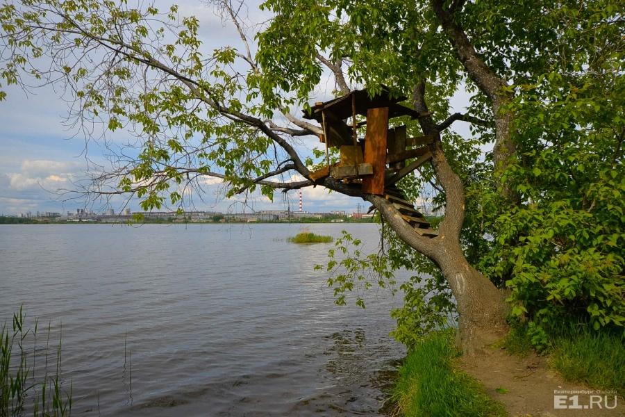 Романтичный домик на дереве с видом на пруд.