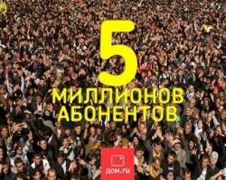 «Дом.ru»: год на 5 с плюсом