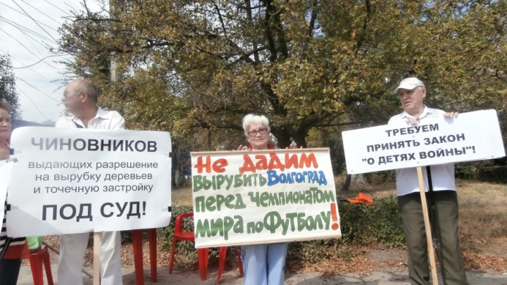 В Волгограде проходят пикеты за восстановление парка у Мамаева кургана