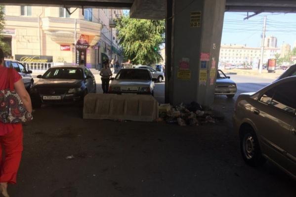 Городские коммунальщики решили почистить под мостом из-за приезда Медведева