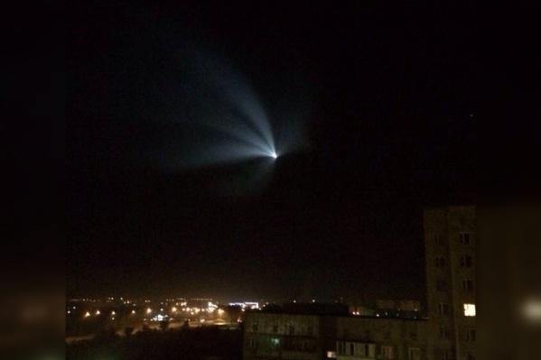 Так выглядела медуза от ракеты-носителя «Союз-У» в Казахстане в 2014 году