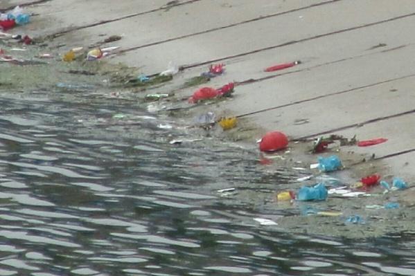 Часть мусора утонула в реке