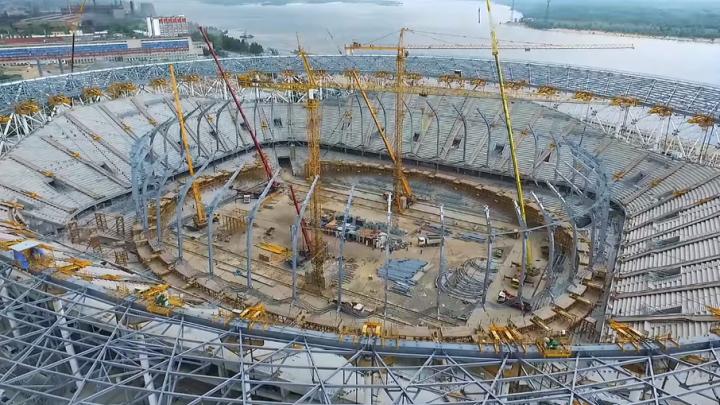 В Волгограде сняли сверху почти законченный новый стадион к ЧМ-2018