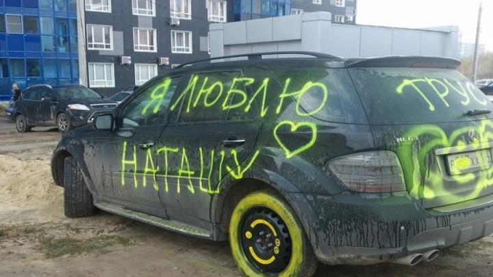 В Волгограде дорогой Mercedes-Benz изуродовали кислотными фаллосами
