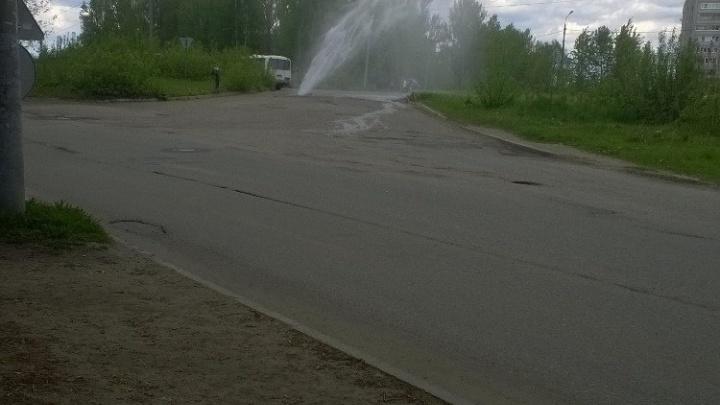 Бьющий из-под земли фонтан заливает ярославский перекресток