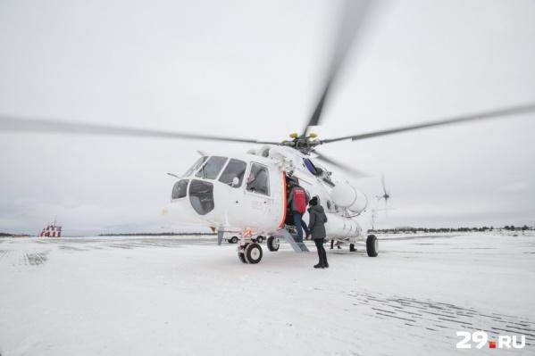 Мы полетели в Мезень на новом вертолете МИ-8 с медицинским модулем