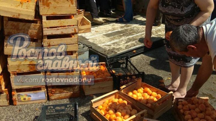 После опрокидывания фуры на трассе под Ростовом устроили распродажу фруктов